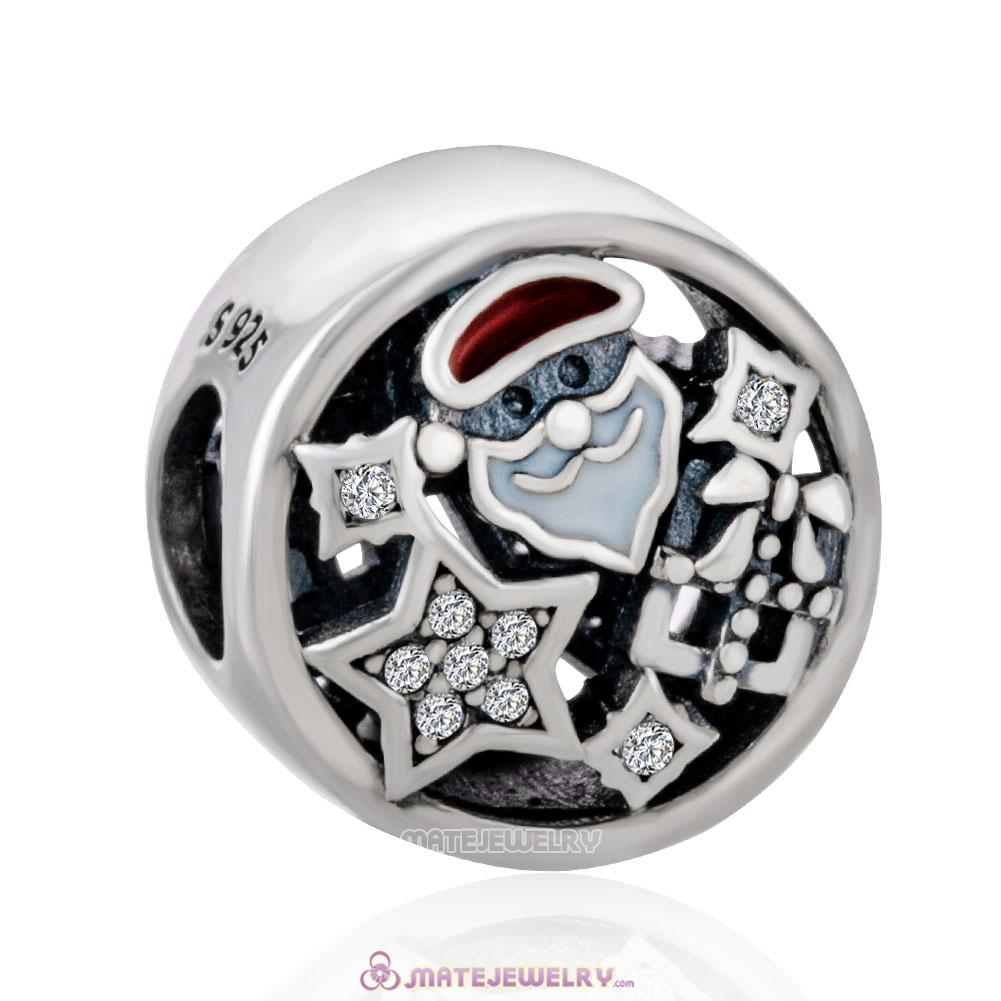 Christmas Santa Gift with Mix Enamel and Clear CZ Charm