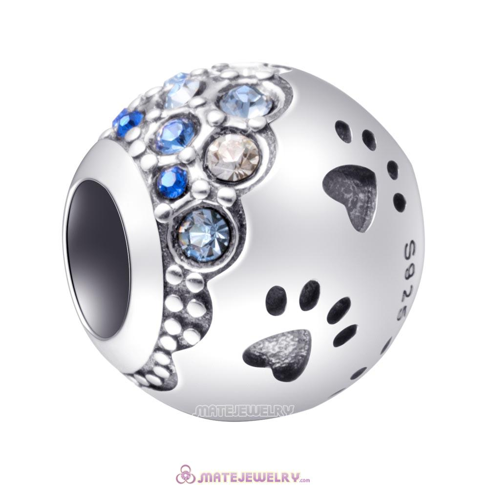 Dog Paw Print Charm with Austrian Crystal Beads