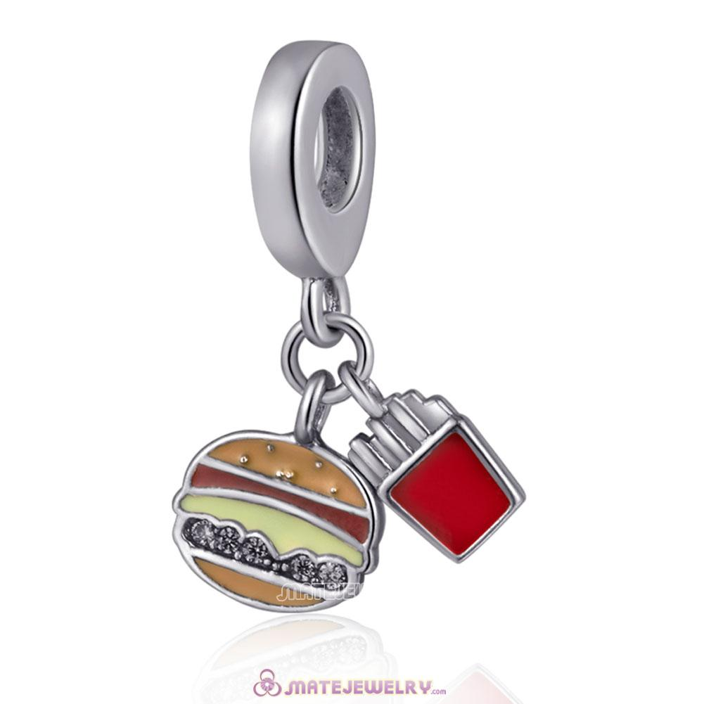 Silver Hamburger and Fries Charms with Mix Enamel