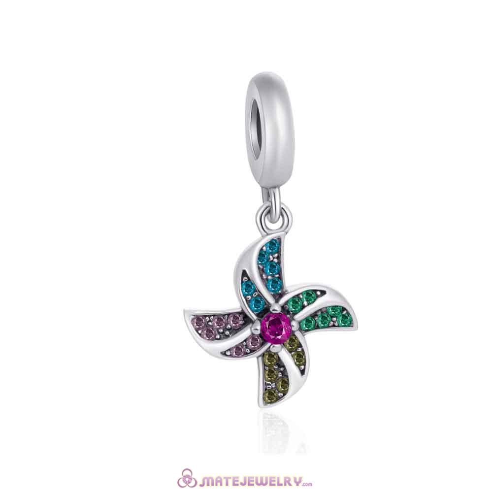 925 Silver European Colorful Windmill Pendant Charm