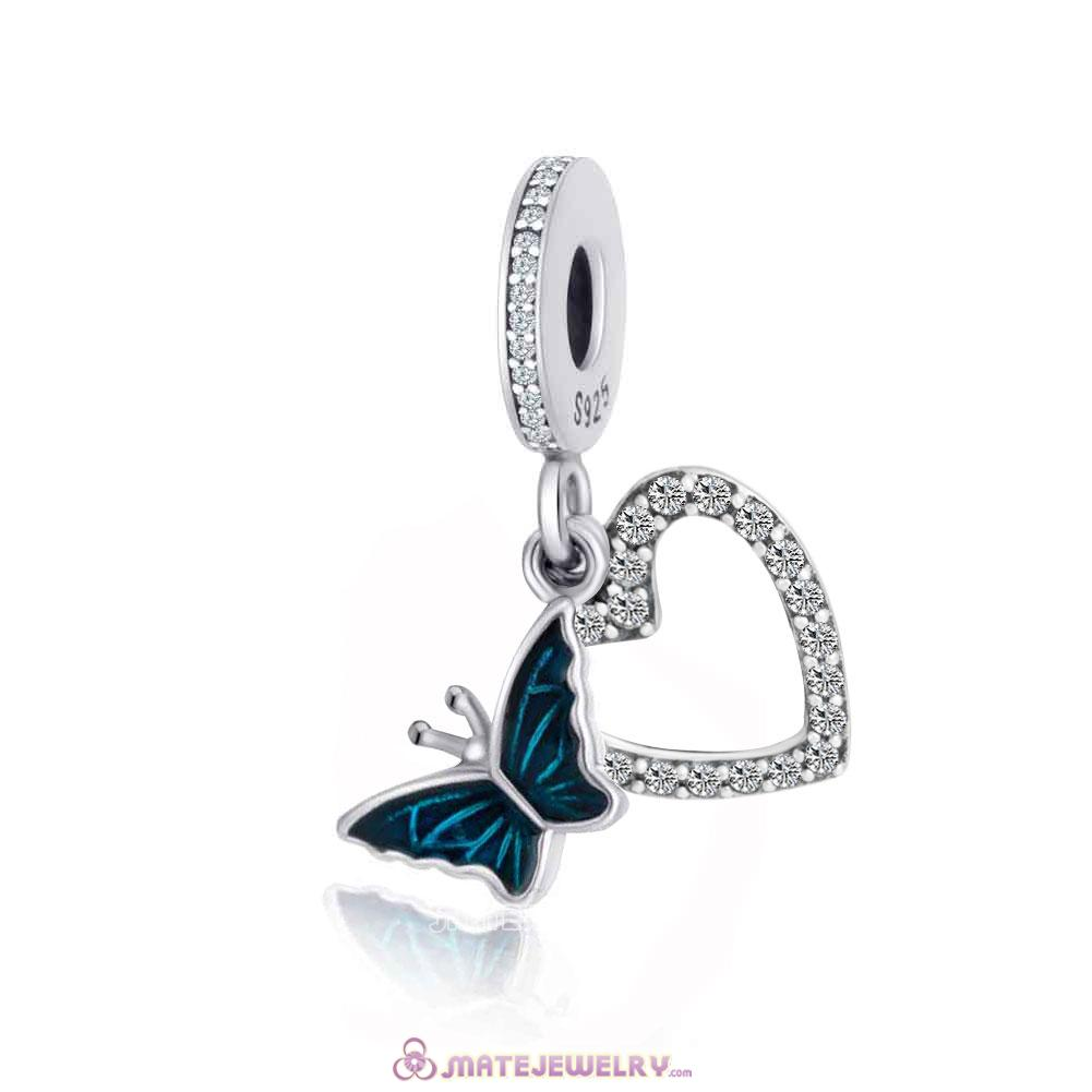 925 Silver European Blue Butterfly on Heart Pendant Charm