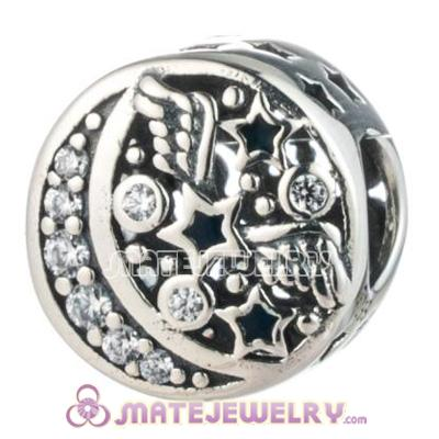 Moon and Stars Charm Cubic Zirconia Bead