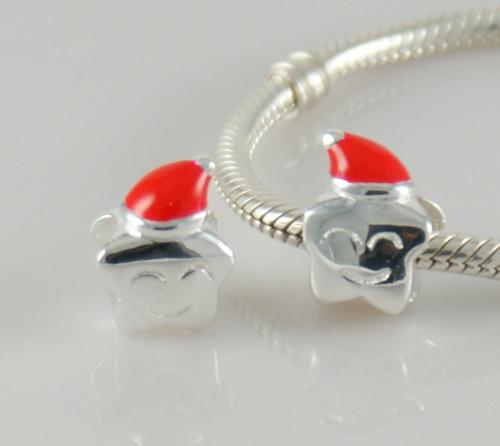 silver star beads pandora christmas hat charm