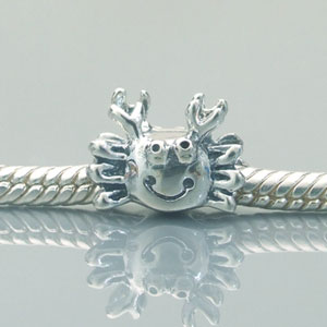 pandora style beads-silver crab charm