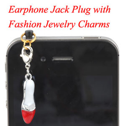 Earphone Jack Plug With High Heel Charms Jewelry