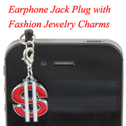 Earphone Jack Plug With Dollar Charms Jewelry