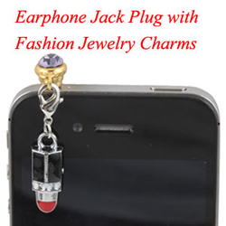 Earphone Jack Plug With Lipstick Charms Jewelry