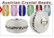 Glass Silver Core Bead With Austrian Crystal
