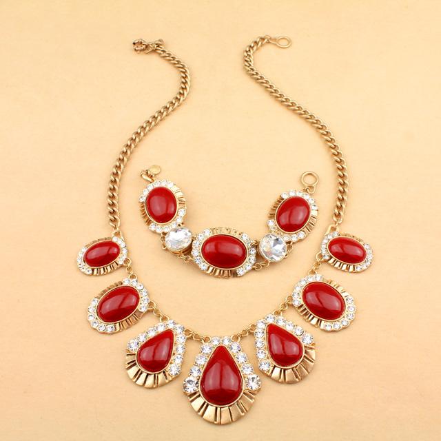 Statement Necklace Bracelet Set